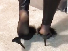Nylon soles and also wetlook leginggs
