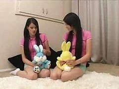 Twins - teen Sisters Being Taught By Father & Wife