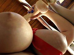 Bigbooty eager mom gags on a sizeable dildo