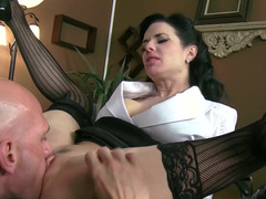 Mesmerizing brunette femdom goddess wants get in hands of strong fella