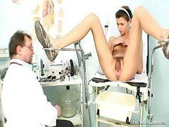 Funny Angela gyno vagina exam with speculum. Gyno pink slit actual speculum examination on gynochair at kinky gyno clinic by o