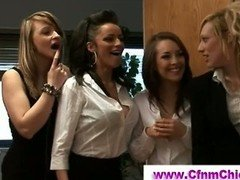 Cfnm girls wanking naked man