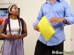 Tiny latina aupair jizzed