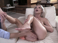 Foot fetish, blowjob, and anal banging of blonde miss and her BF