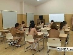 Shy nudist Japanese schoolgirls on national naked day