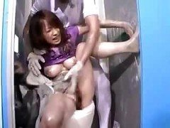 Girl glued & used on public toilet