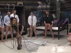 Horny dudes surround tattooed minx Misha Cross