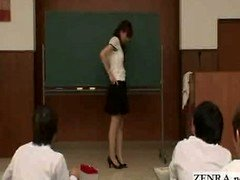 Japanese teacher reluctantly gets naked in front of