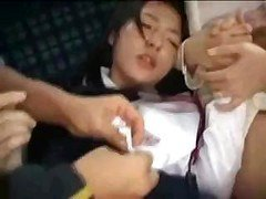 Oriental mom and plus daughter are fucked on a public bus by crazed man