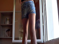 denim shorts and heels
