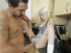 Tattooed young and fresh dude knows how to please this raunchy blonde slut