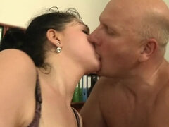 Bossy Dude Fucks His Secretary with Big Natural Tits in the Office