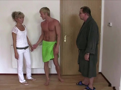 Vicious spouses easily involve girl in threesome