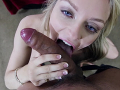 A blonde with a large ass is getting her mouth filled with semen