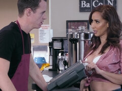 Horny brunette MILF servicing young barista