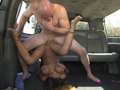 Hairless monster shoves his rod deep inside buxom lady's cunt