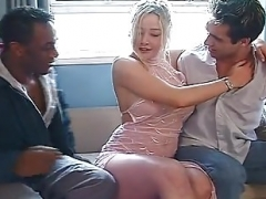 Omar and also mate get down and dirty a blonde floozy up the arse double penetration