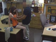 Little woman drilled by excited pawn keeper at the pawnshop