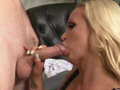 Nikki Benz sucking guy's dick & titty fucking it & riding it gonzo style