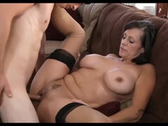 Experienced mature cougar in stockings Fucks Young Guy
