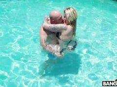 Beautiful chick with big tits Ryan Conner fucked on the poolside