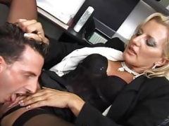 Glamorous slut fucked at her office
