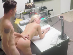 A busty milf is rammed in her wet and tight snatch in the office
