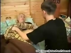 Young-looking boy gets down and dirty her sleeping russan mature mother