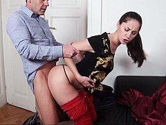 European babe having clothed sex