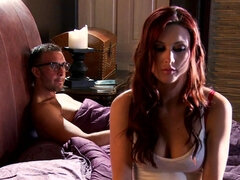 Red haired chick has hairy pussy
