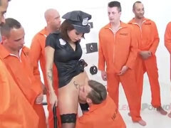 Sexy policewoman likes bad boys - gangbang with cumshots