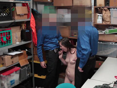 Sexy shoplifter Lexi Lovell detained by security guy