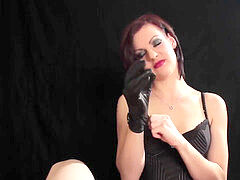 fabulous black-haired give smoking oral job with leather gloves