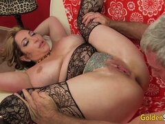 Chubby mom spreads legs to show her pussy