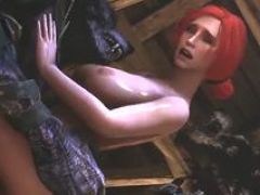 Redhead Triss fucked in three-way