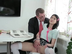 Schoolgirl sucked cock before old teacher fucked her hardcore