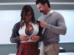 Busty student Ella Knox taking professor's dick on the class desk