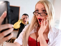 Cute long-legged blonde Amber Jayne sucks in the classroom
