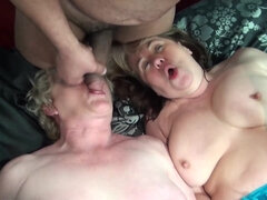 Old sluts in sexy lingerie share one big young cock in a XXX three-way