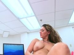 Mature brunette gets herself a younger guy to open up her pussy