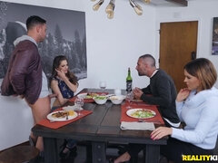 Family meeting ends with a crazy threesome sex on table