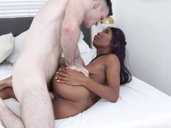 Busty ebony with long legs Ivory Logan got her hole fucked in the bed