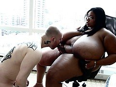 Real bbw Cotton Candi has Girl/guy Man Submit to her Strap on
