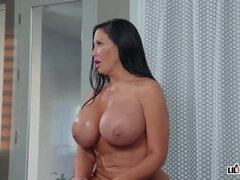 Lusty mature girl with huge milk boobs, Sybil Stallone is pummeling a much junior stud