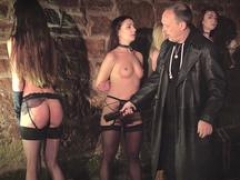 4 slaves punished and also furthermore humiliated by master he bangs and also furthermore slap