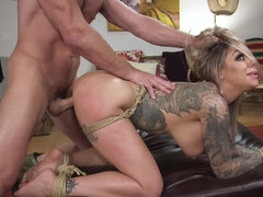 Inked blonde drilled hard by her master for cumming too early