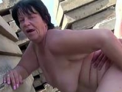 Overweight Granny Fucked By Grandson Outdoors