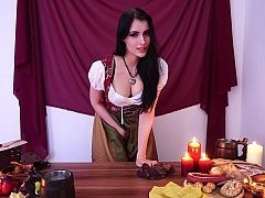 Medieval maiden from the tavern unclothes