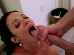 Ariella Ferrera wearing stewardess uniform gets fucked & jizzed in a hotel