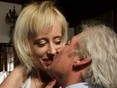 Small-tit blonde babe Yulia sucks a tasty hard dick of an old man